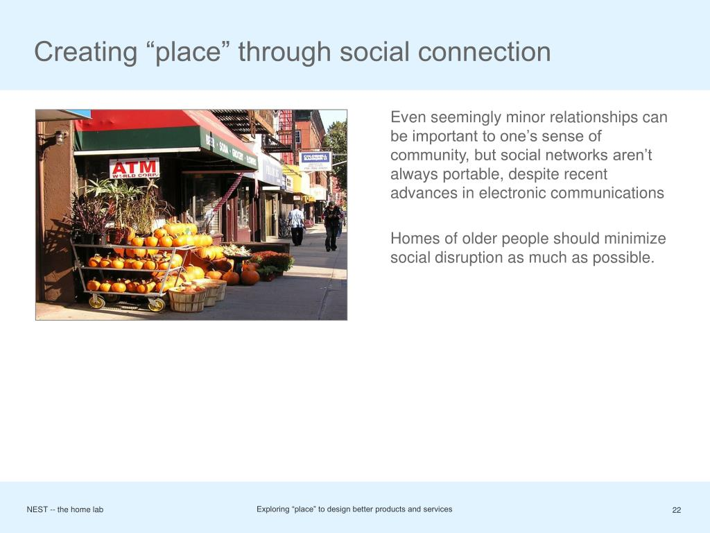 "Creating ""place"" through social connection"