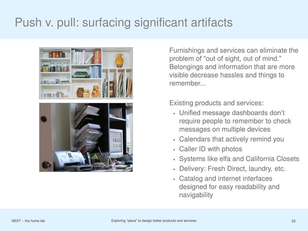 Push v. pull: surfacing significant artifacts