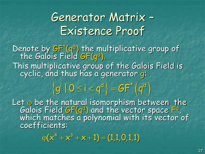 Generator Matrix –