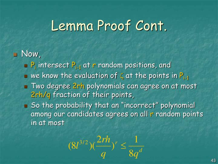 Lemma Proof Cont.
