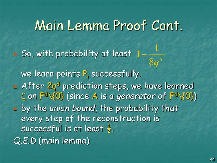 Main Lemma Proof Cont.