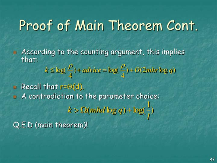Proof of Main Theorem Cont.