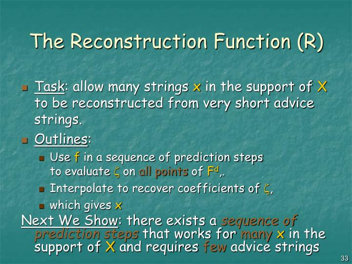 The Reconstruction Function (R)