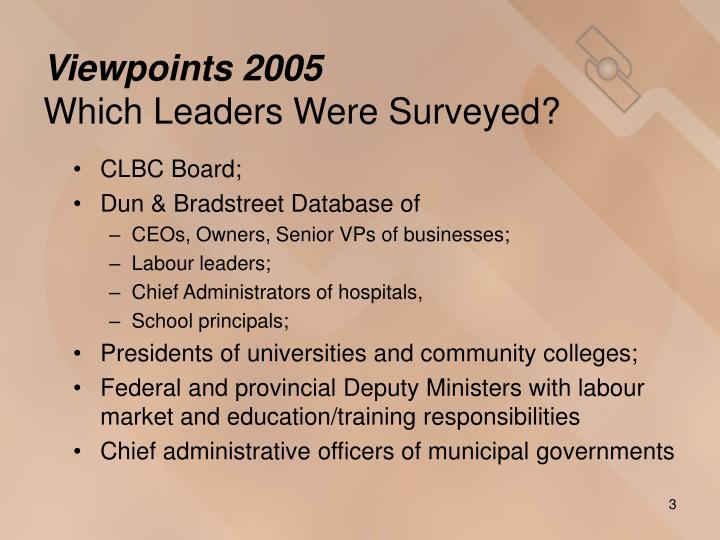 Viewpoints 2005 which leaders were surveyed