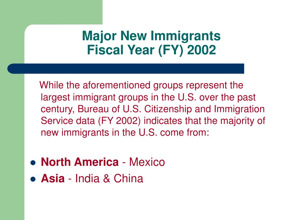 Major New Immigrants