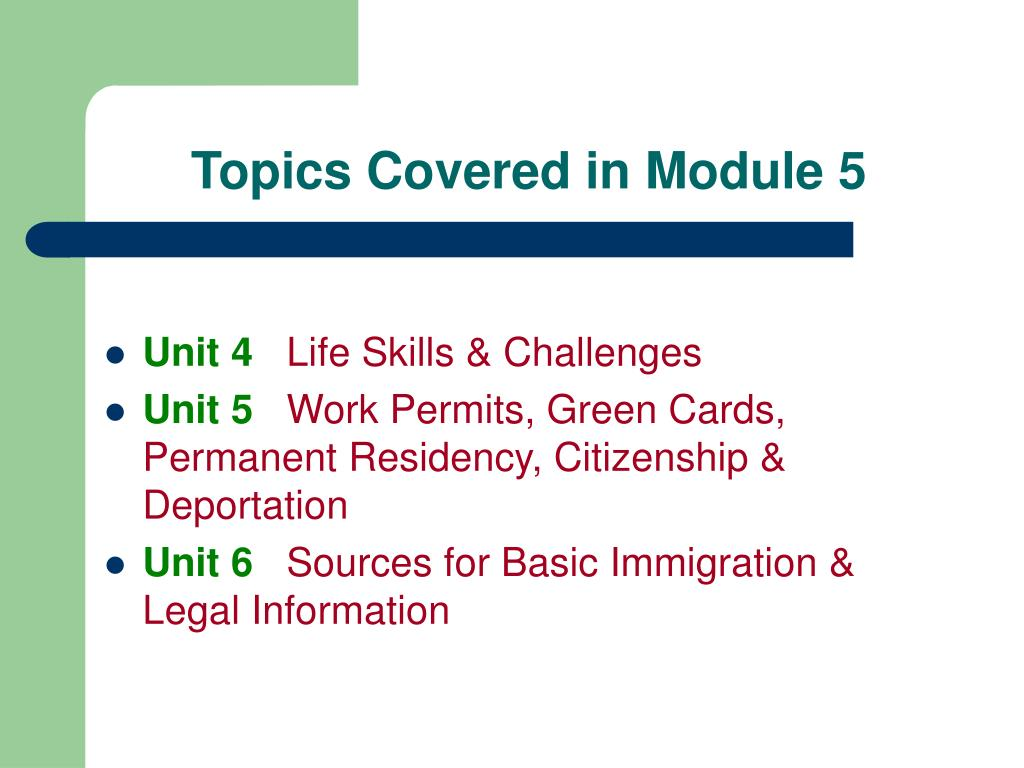 Topics Covered in Module 5