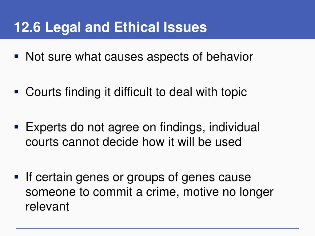 12.6 Legal and Ethical Issues