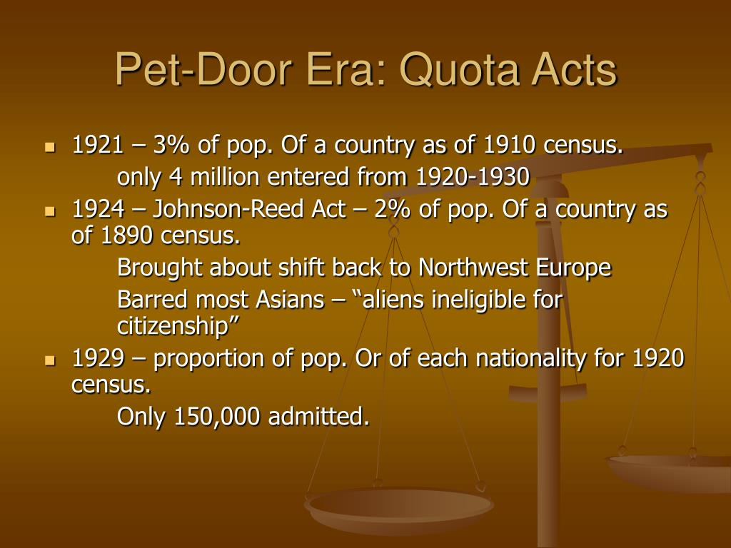 Pet-Door Era: Quota Acts
