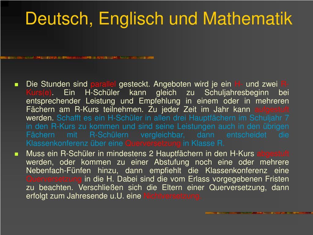 Deutsch, Englisch und Mathematik