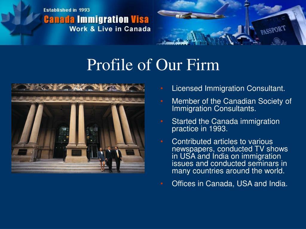 Licensed Immigration Consultant.
