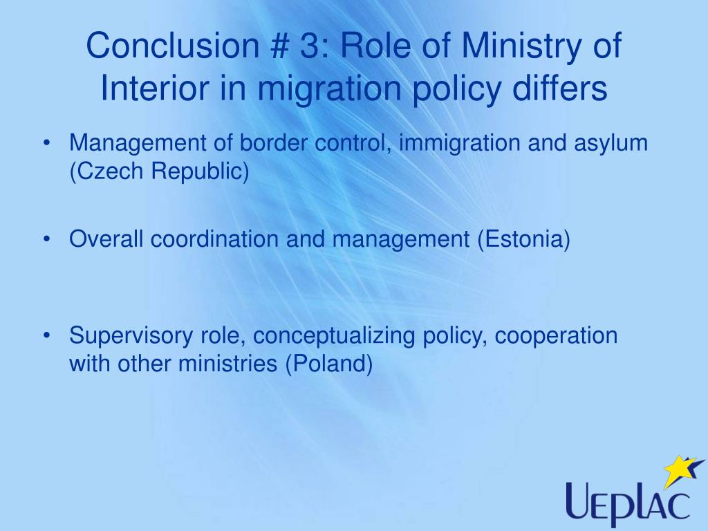 Conclusion # 3: Role of Ministry of Interior in migration policy differs