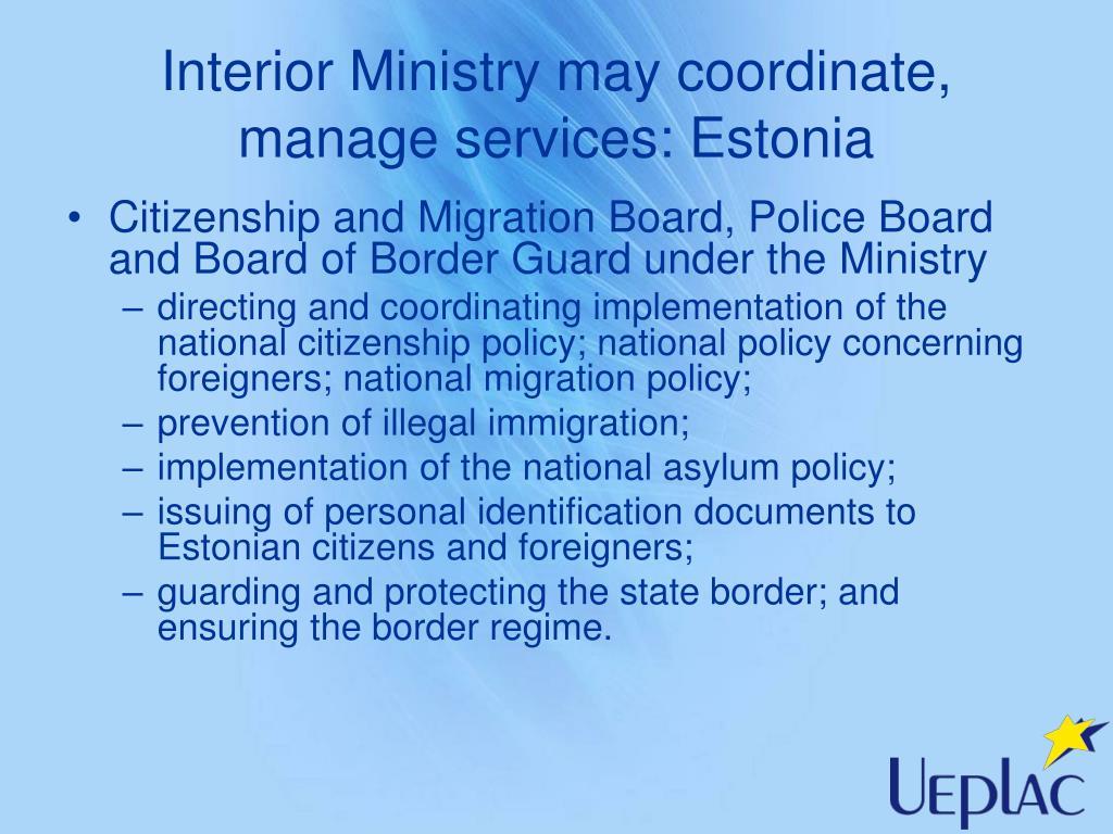 Interior Ministry may coordinate, manage services: Estonia