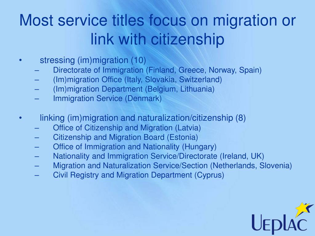 Most service titles focus on migration or link with citizenship
