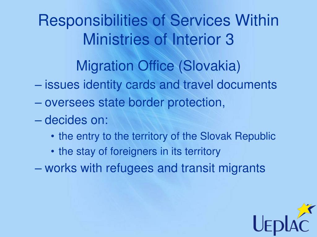 Responsibilities of Services Within Ministries of Interior