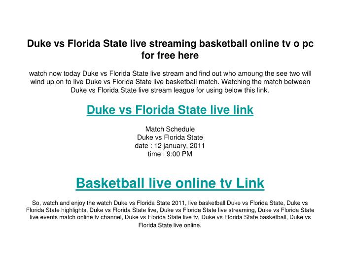 Duke vs Florida State live streaming basketball online tv o pc for free here