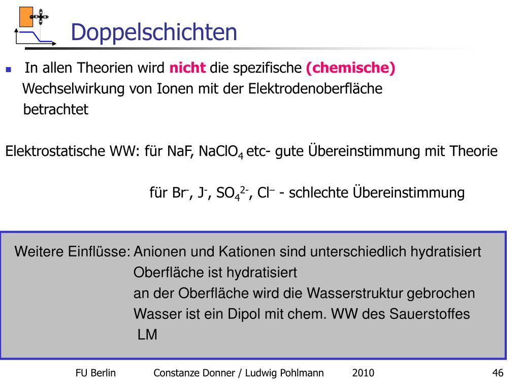 Weitere Einflüsse: Anionen und Kationen sind unterschiedlich hydratisiert