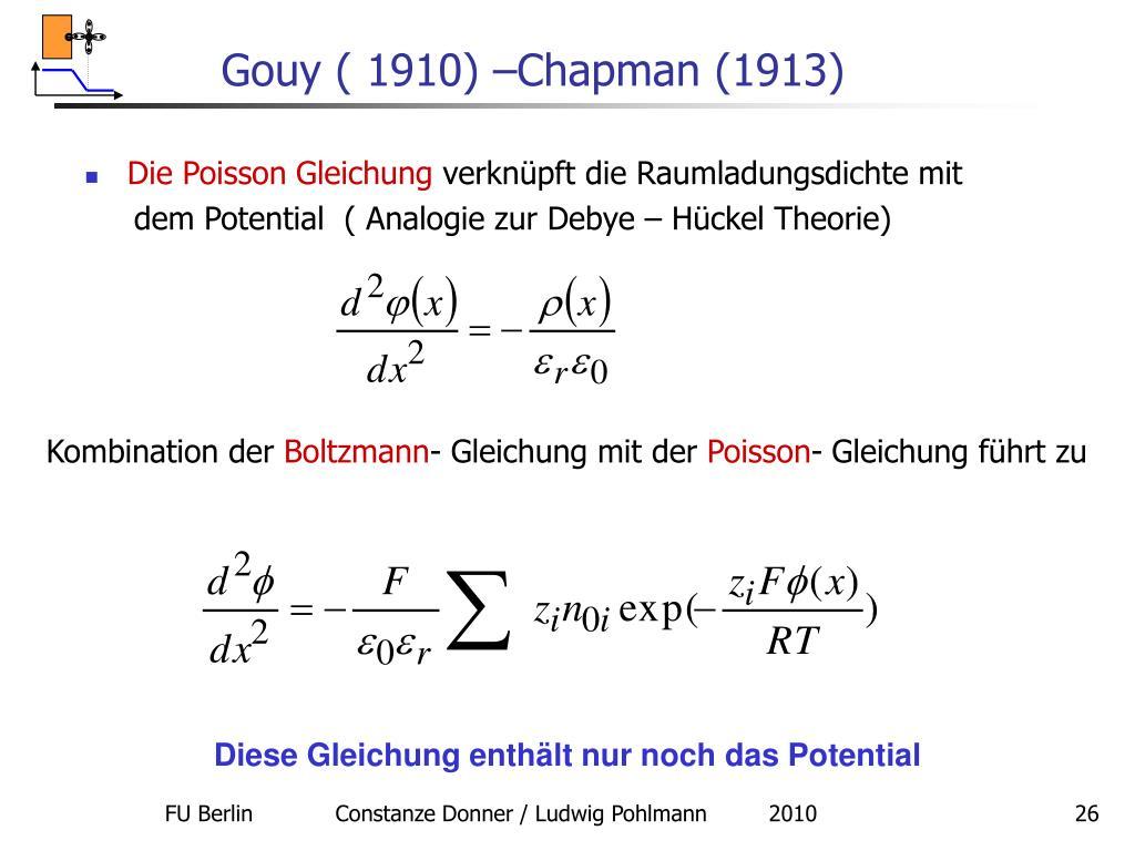 Gouy ( 1910) –Chapman (1913)