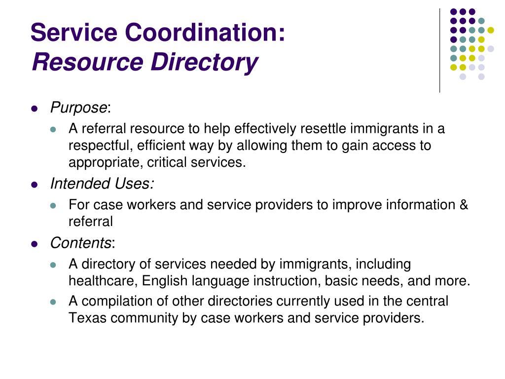Service Coordination: