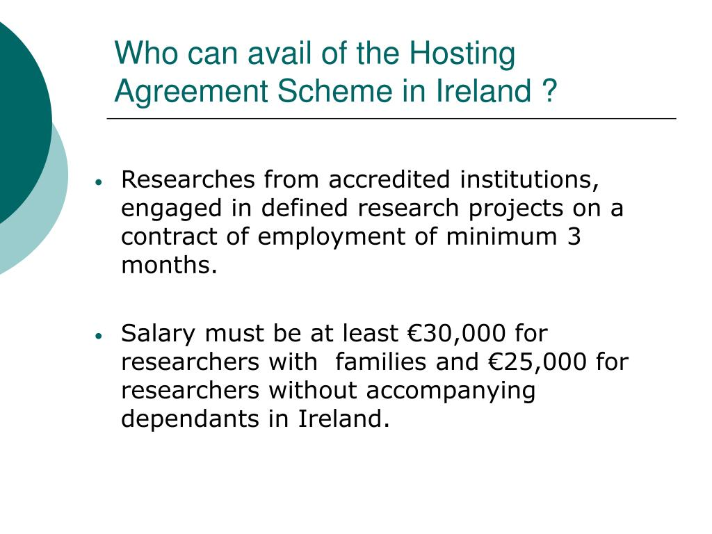 Who can avail of the Hosting Agreement Scheme in Ireland ?
