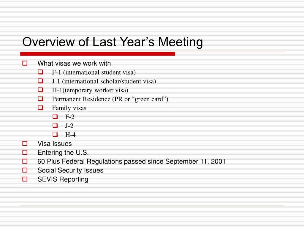 Overview of Last Year's Meeting