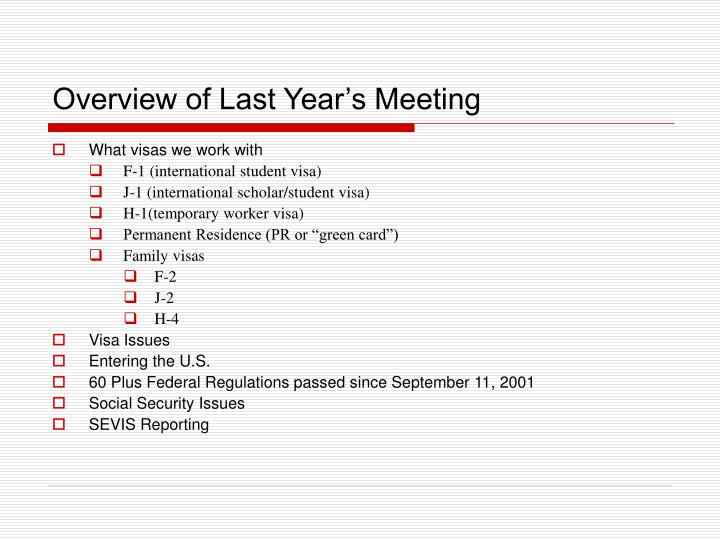 Overview of last year s meeting