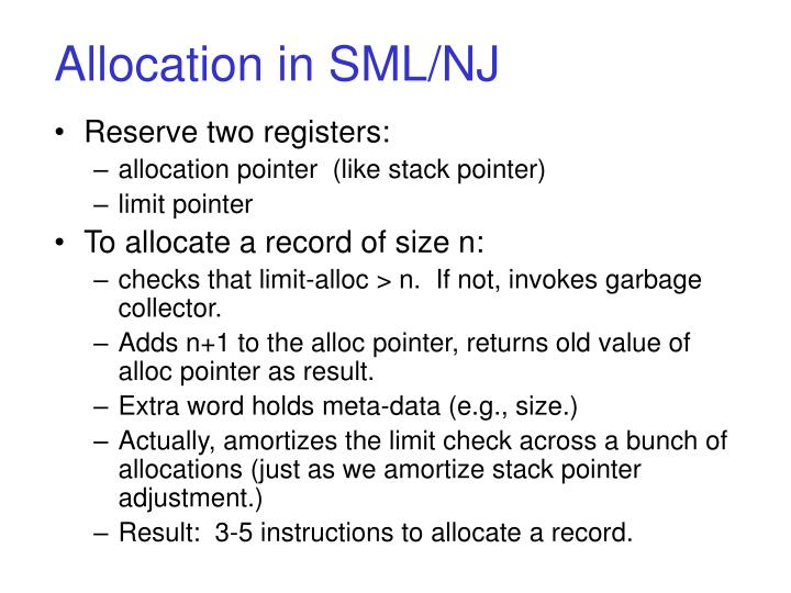 Allocation in SML/NJ