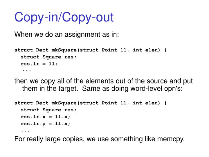 Copy-in/Copy-out
