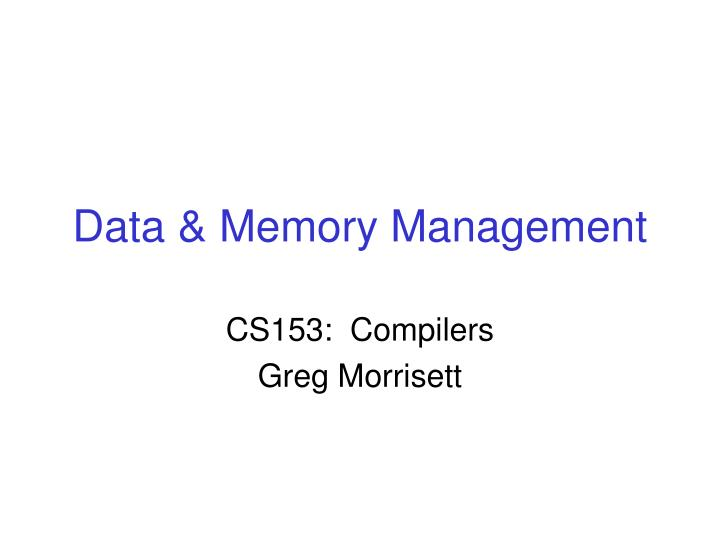 data memory management