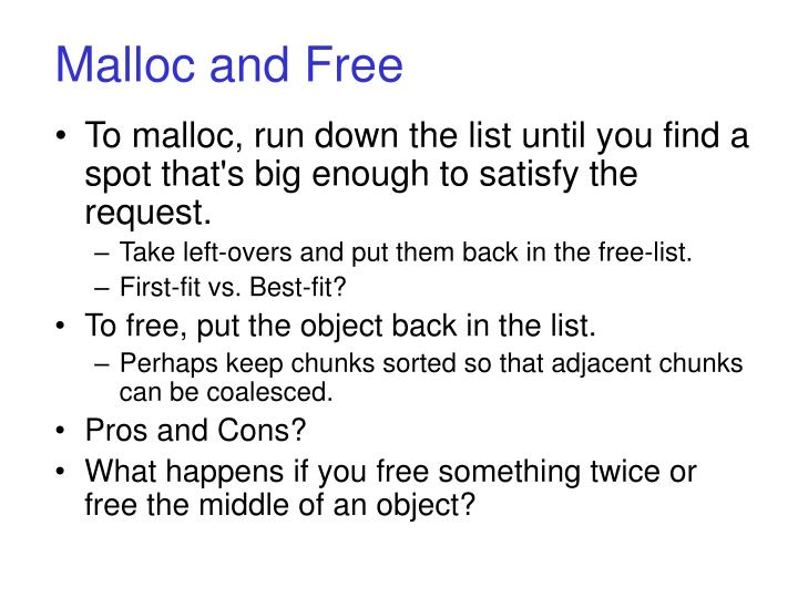 Malloc and Free