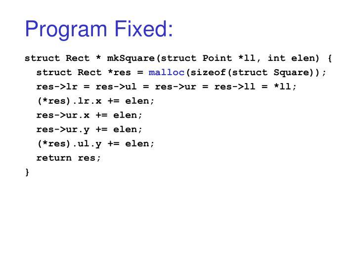 Program Fixed: