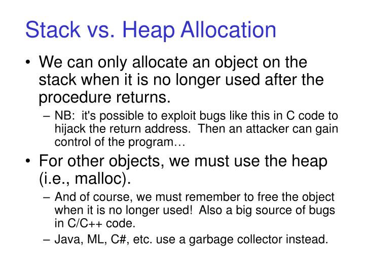 Stack vs. Heap Allocation