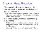stack vs heap allocation