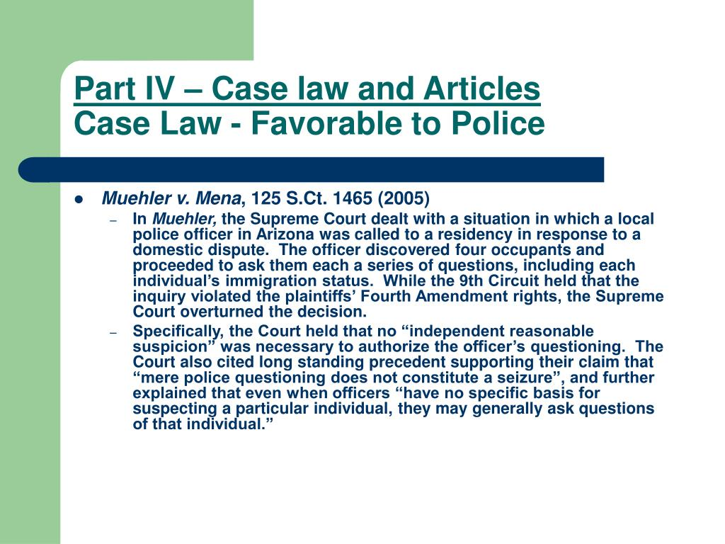 Part IV – Case law and Articles