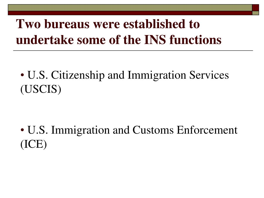 Two bureaus were established to undertake some of the INS functions