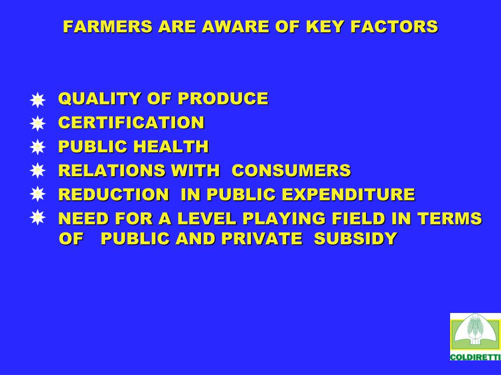 FARMERS ARE AWARE OF KEY FACTORS