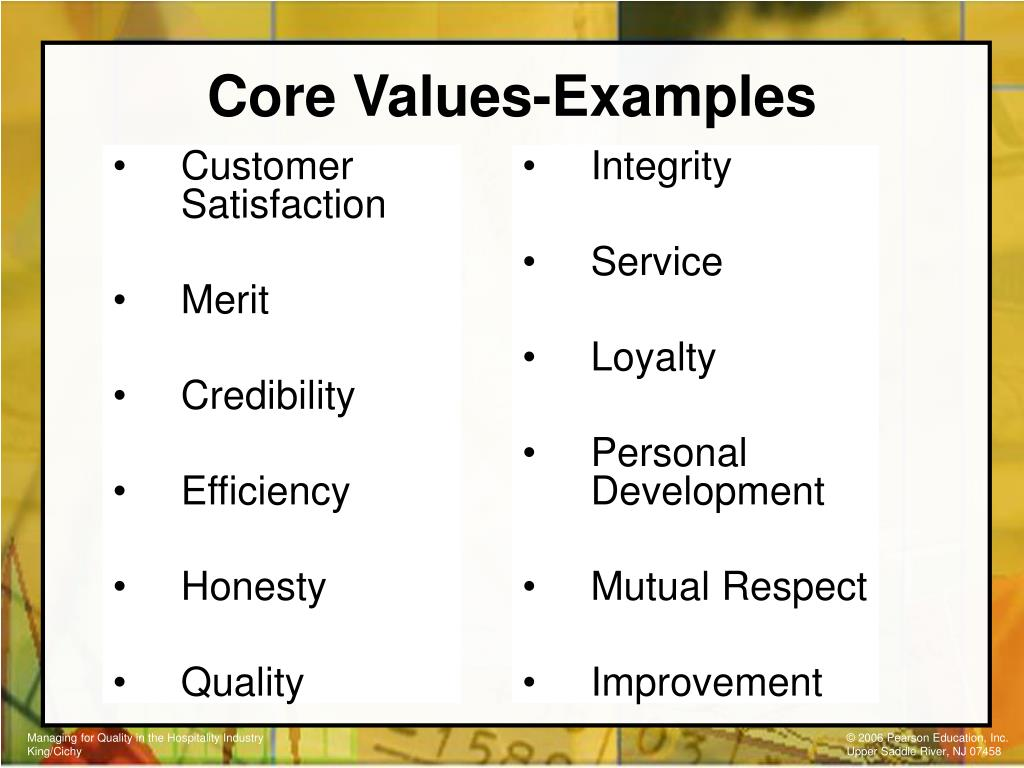 Core Values-Examples