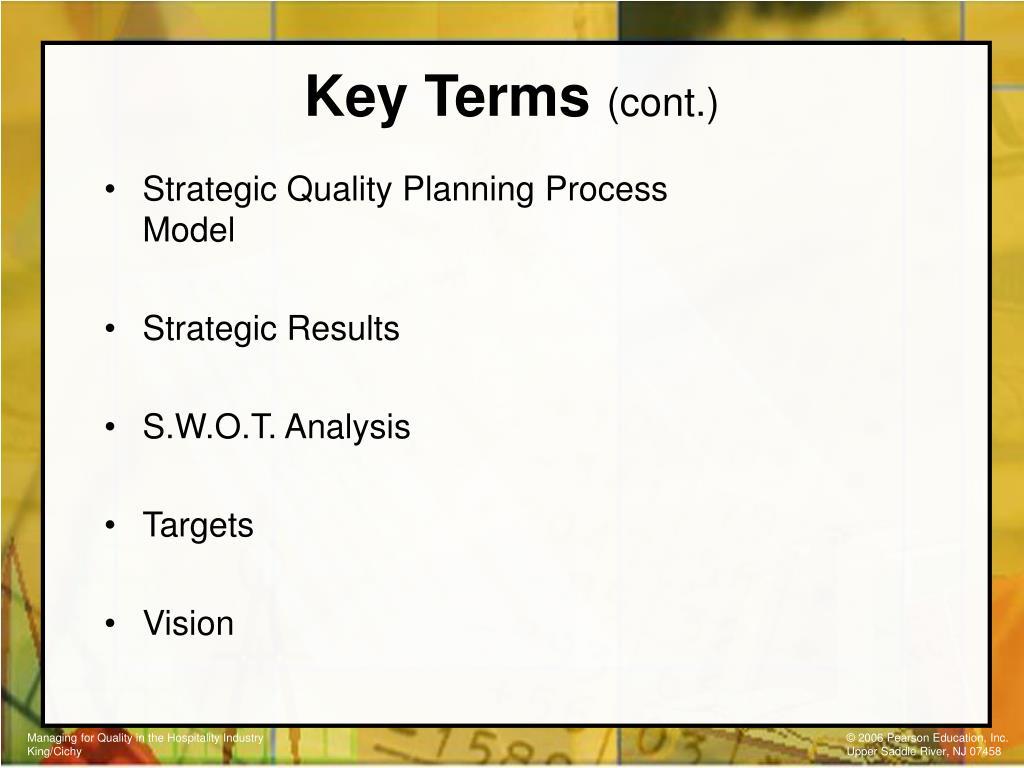 Strategic Quality Planning Process Model
