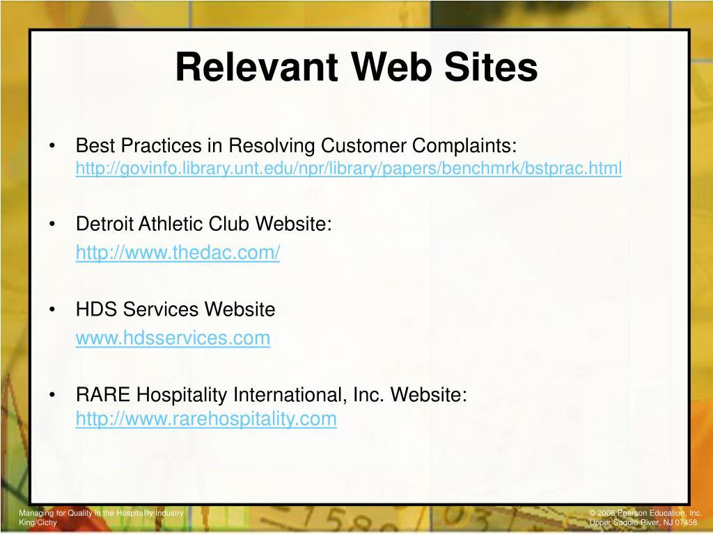 Relevant Web Sites