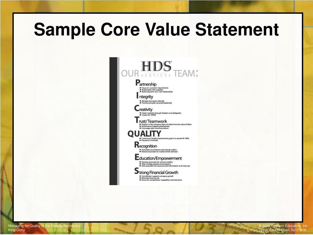 Sample Core Value Statement