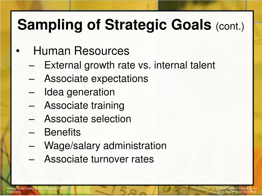 Sampling of Strategic Goals