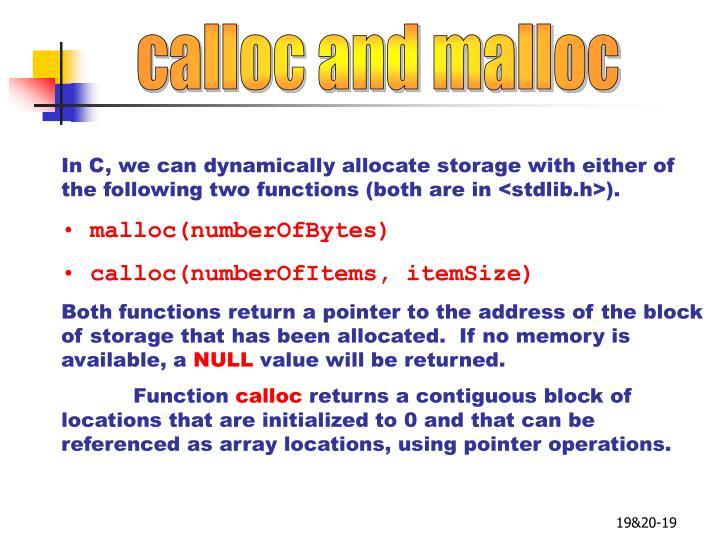 calloc and malloc