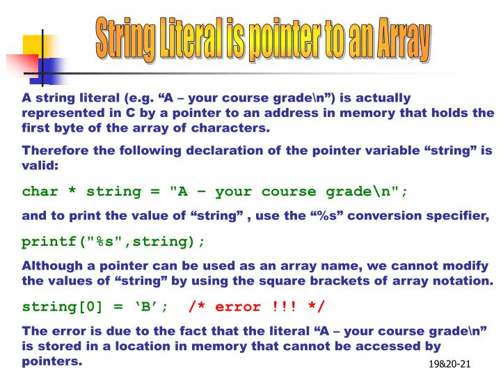 String Literal is pointer to an Array