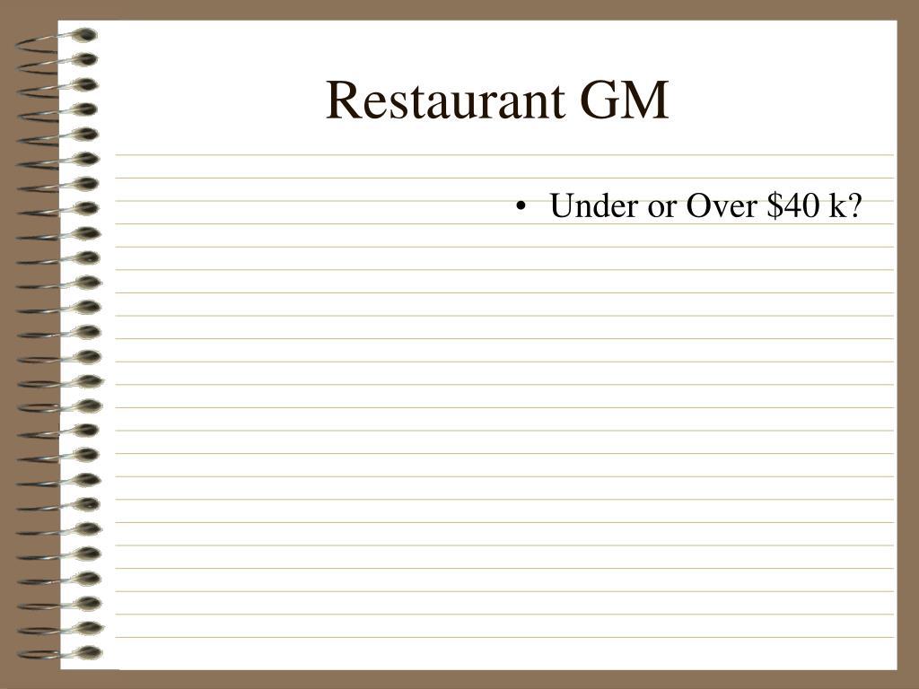 Restaurant GM