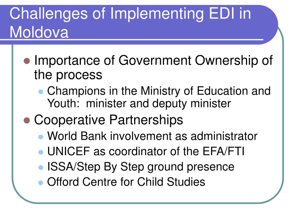 Challenges of Implementing EDI in Moldova