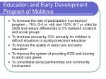 education and early development program of moldova