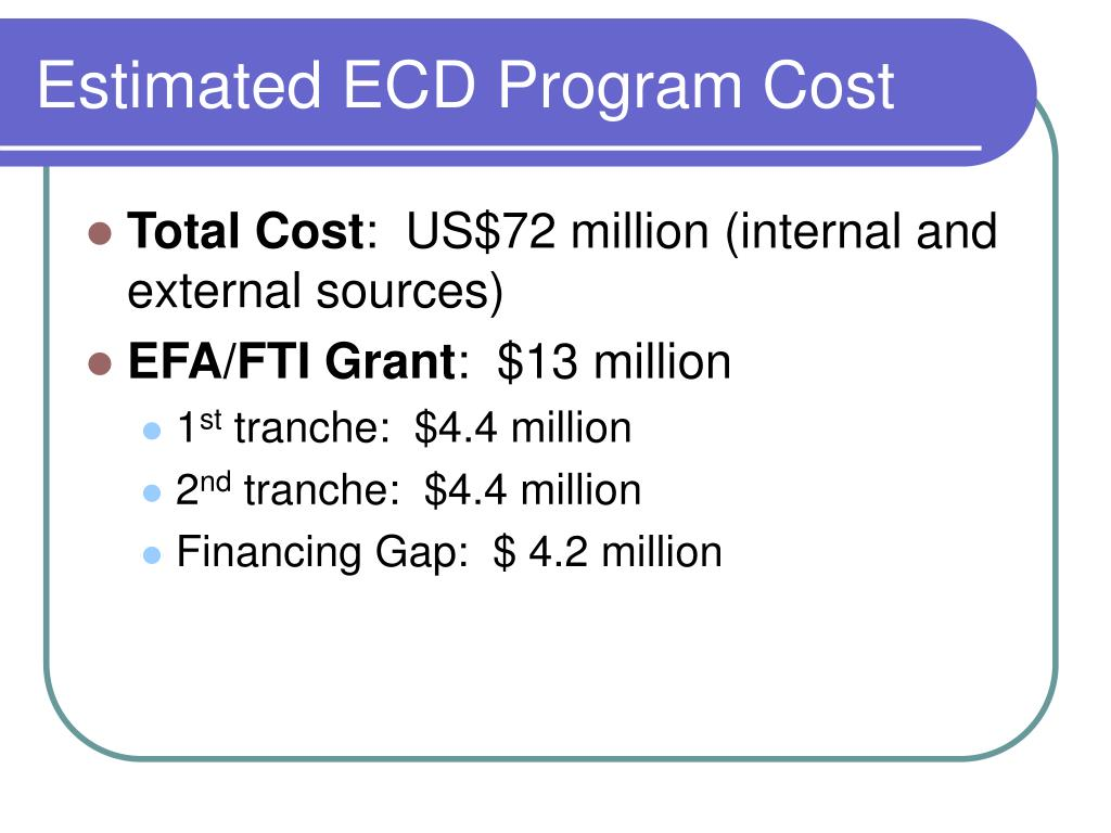 Estimated ECD Program Cost