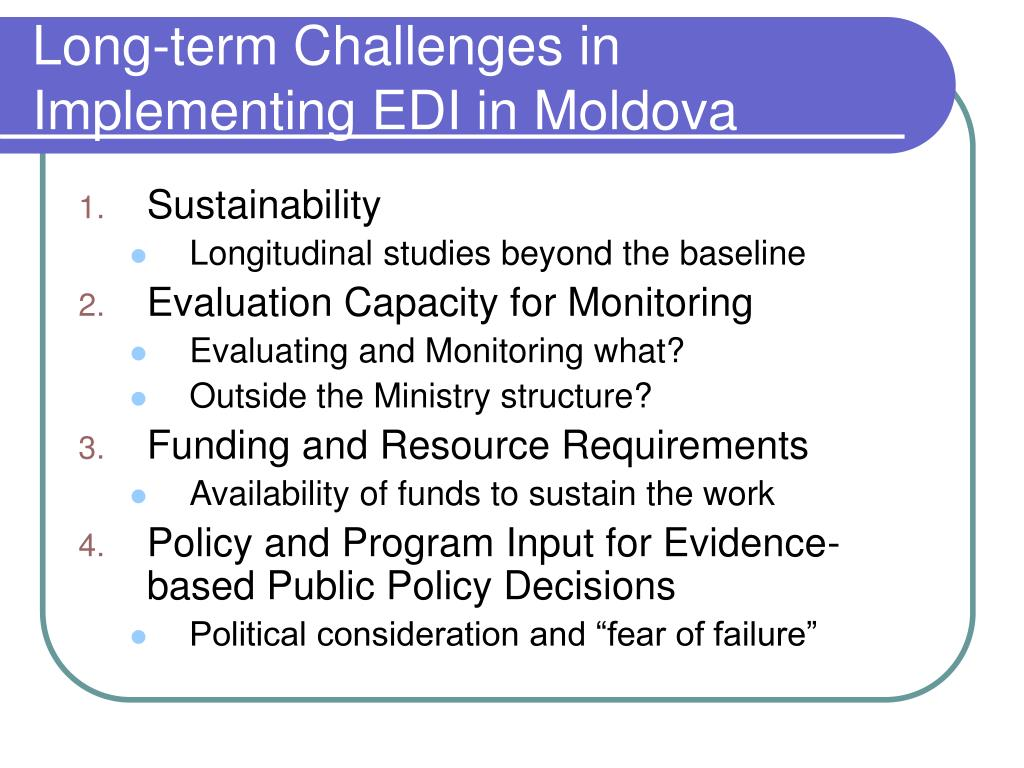 Long-term Challenges in Implementing EDI in Moldova
