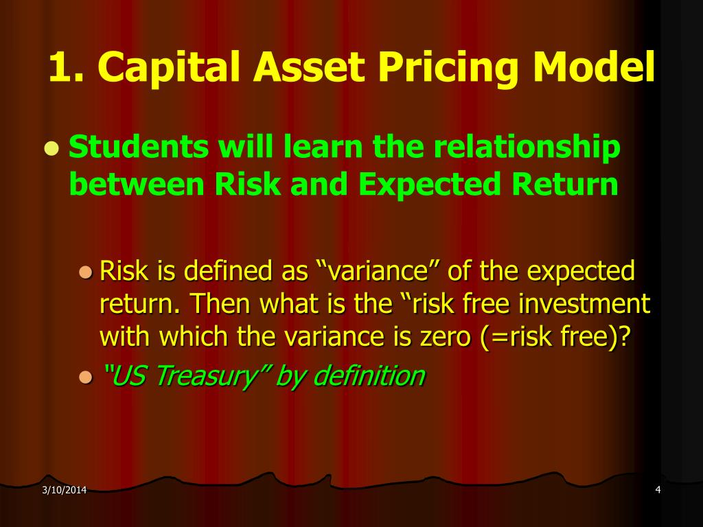 1. Capital Asset Pricing Model