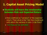 1 capital asset pricing model
