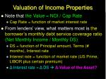 valuation of income properties